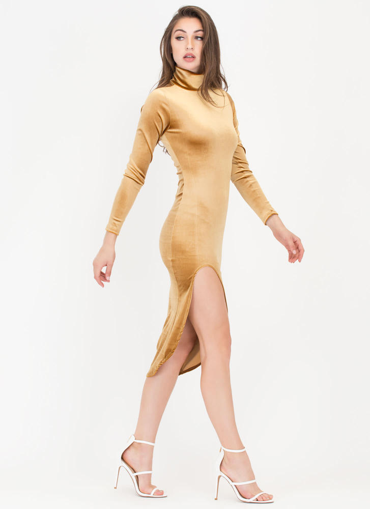 Dreamy Velvet Turtleneck High-Low Dress GOLD
