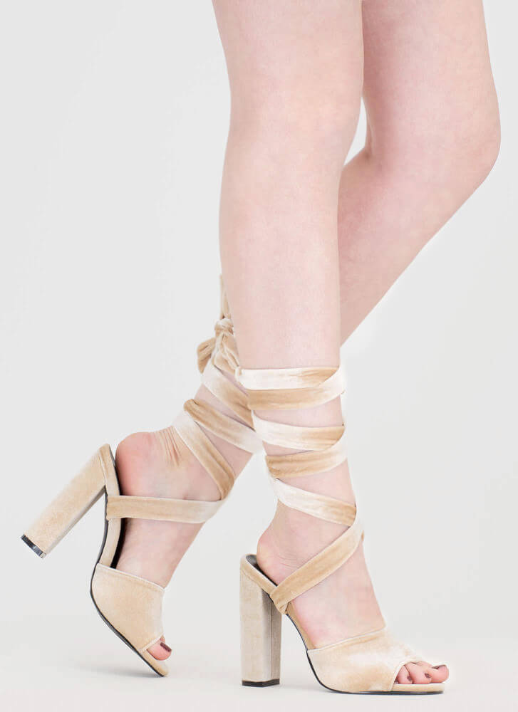 Velvet Victory Chunky Lace-Up Heels NUDE