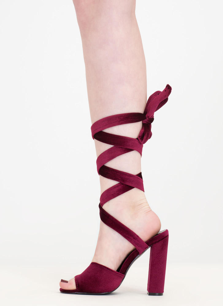 Velvet Victory Chunky Lace-Up Heels WINE