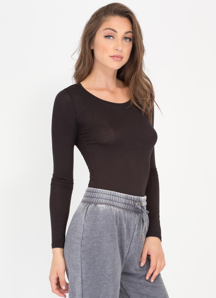 Easy Does It Long-Sleeved Scoop Top BLACK