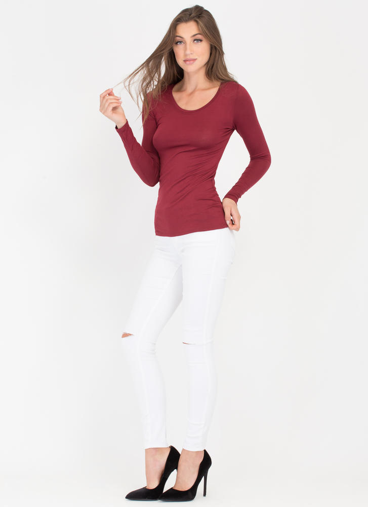 Easy Does It Long-Sleeved Scoop Top BURGUNDY