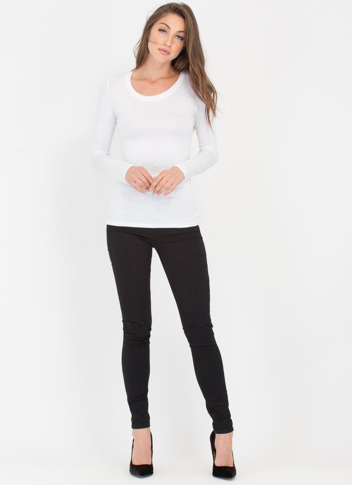 Easy Does It Long-Sleeved Scoop Top WHITE