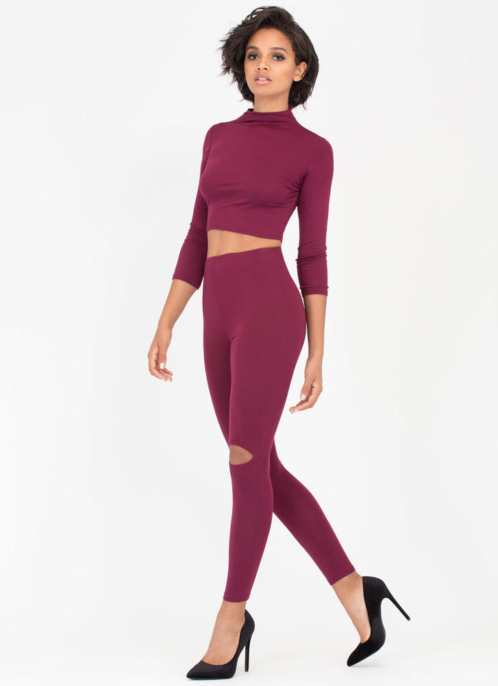 Slit Personality Top And Legging Set BURGUNDY