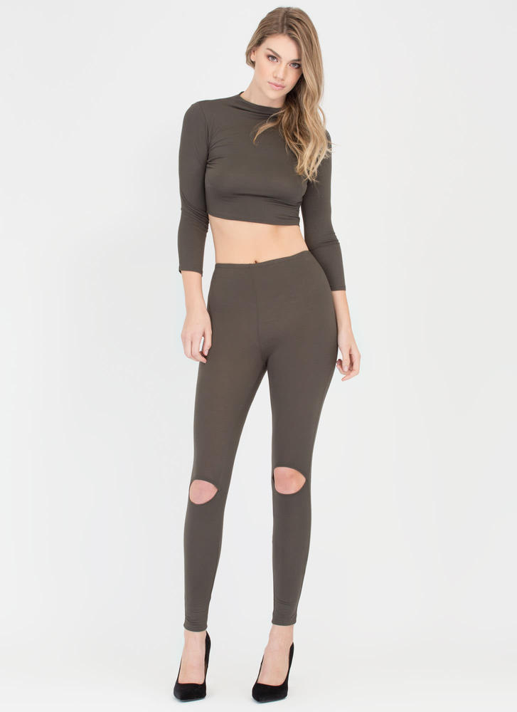 Slit Personality Top And Legging Set OLIVE