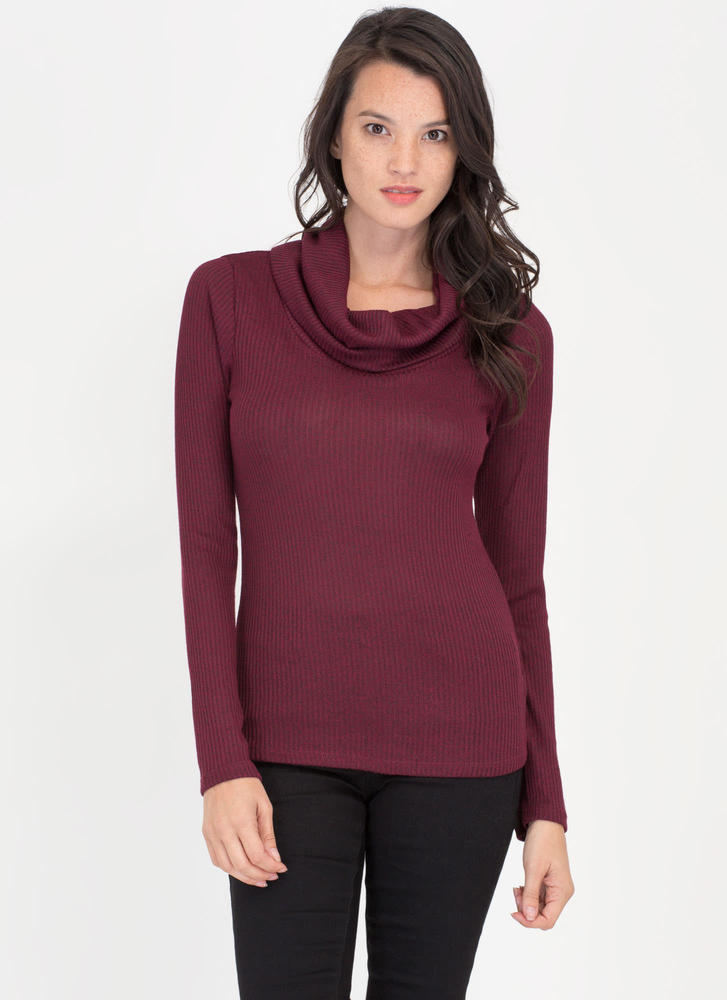 Cozy Feeling Cowl Neck Knit Top BURGUNDY