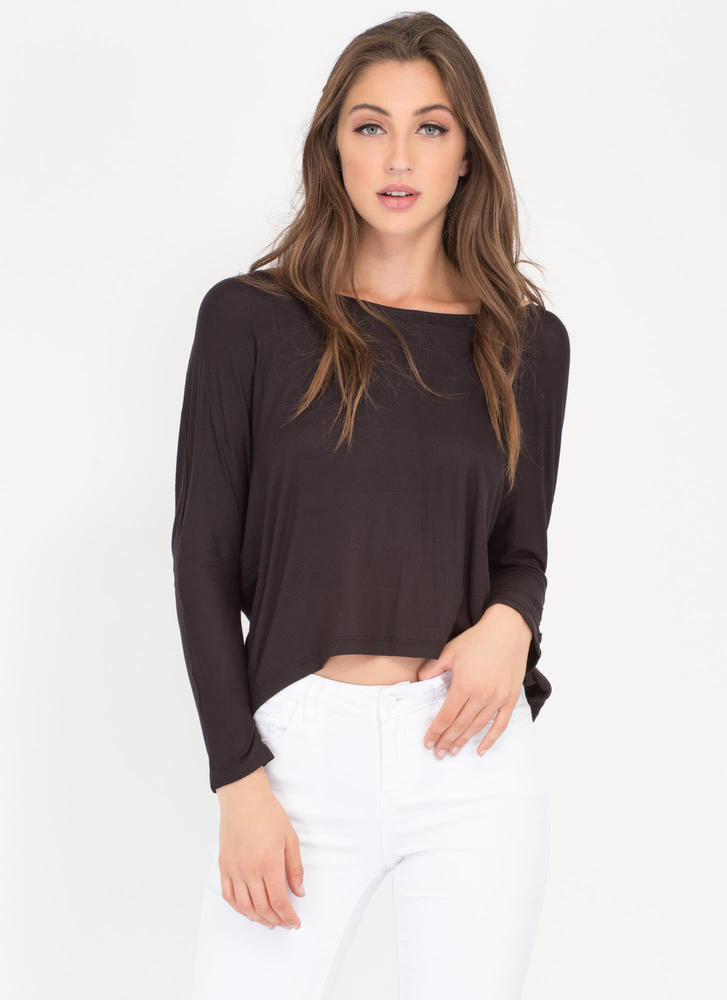 Solid Foundation High-Low Dolman Top BLACK