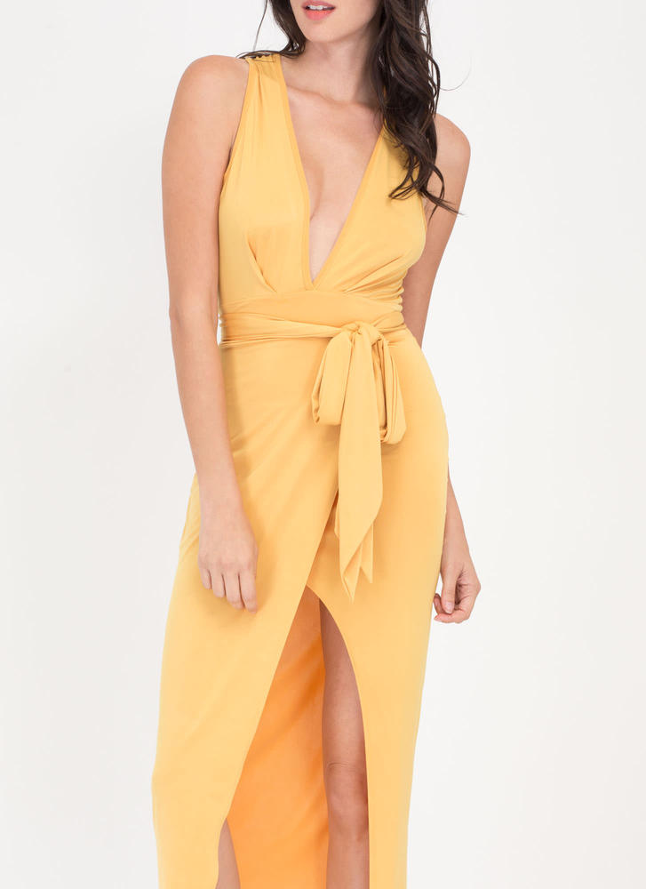 Double Date Plunging Tied Midi Dress MUSTARD