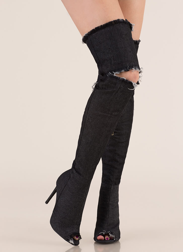 Distress Signal Denim Thigh-High Boots BLACK