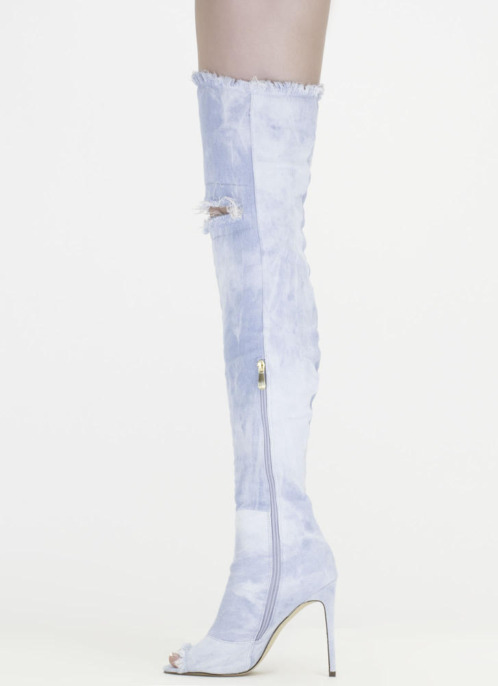 Distress Signal Denim Thigh-High Boots LTBLUE