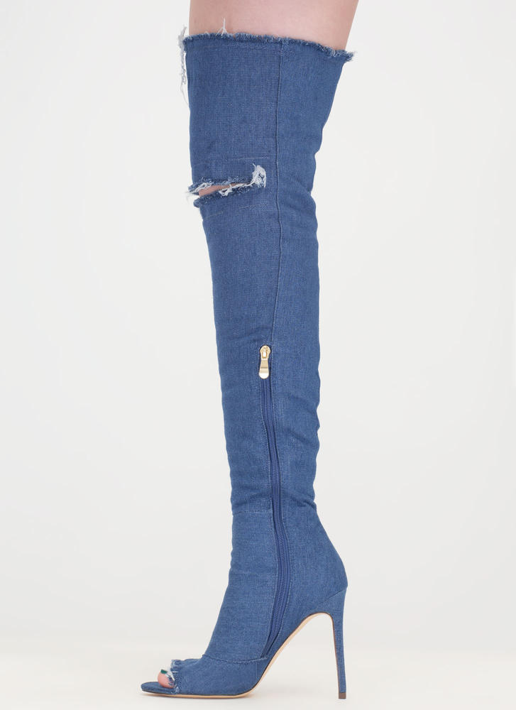 Distress Signal Denim Thigh-High Boots MEDIUMBLUE