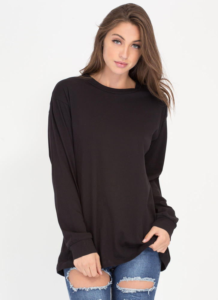 Easy Does It Oversized Long-Sleeve Top BLACK