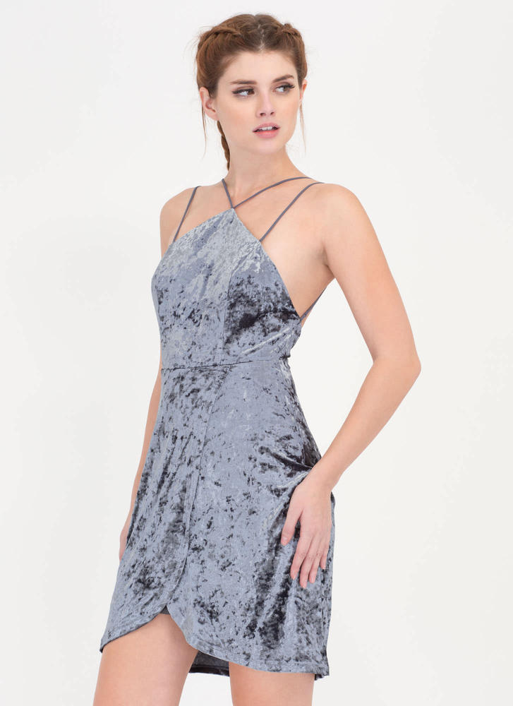 Wrap It Up Strappy Crushed Velvet Dress GREY (Final Sale)