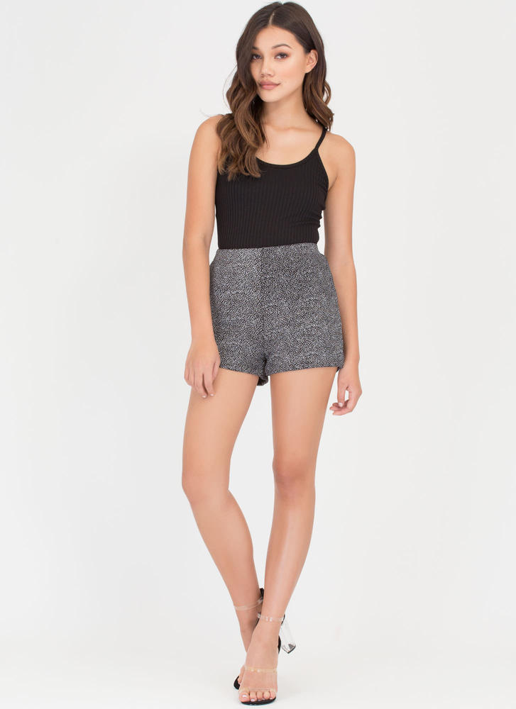 Shining Star Sparkly Speckled Shorts GUNMETAL (Final Sale)