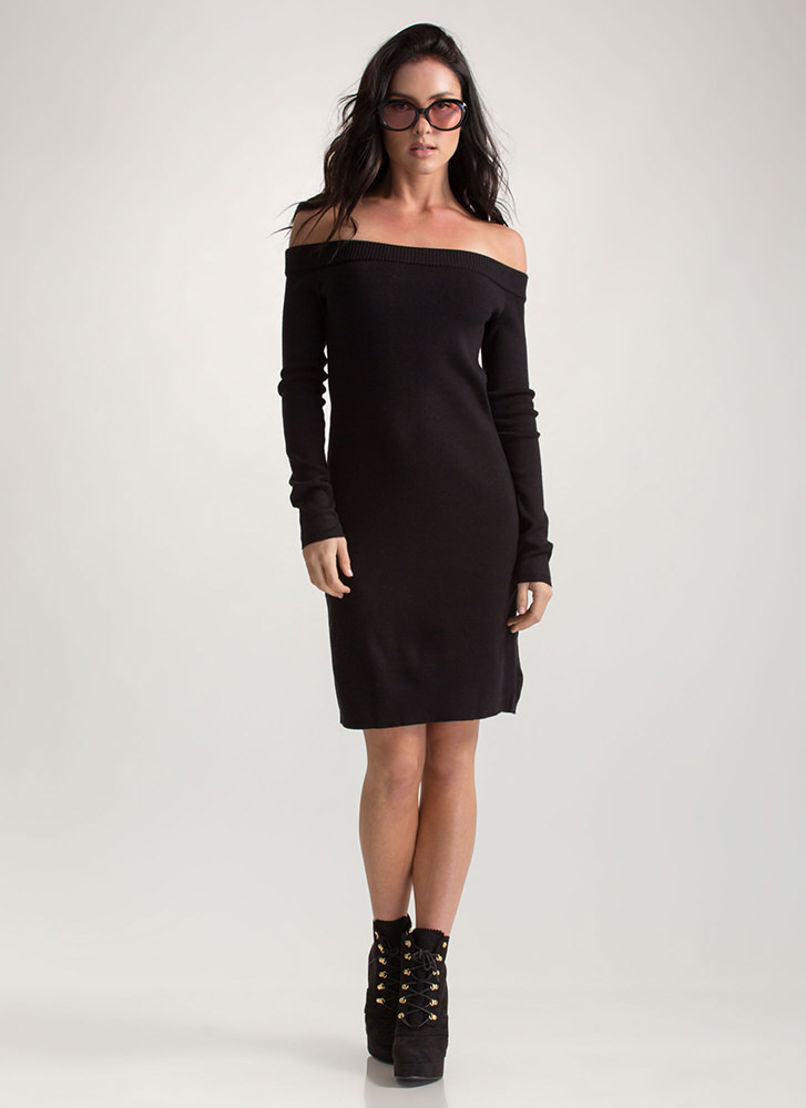 Shrug It Off-Shoulder Sweater Dress BLACK (Final Sale)