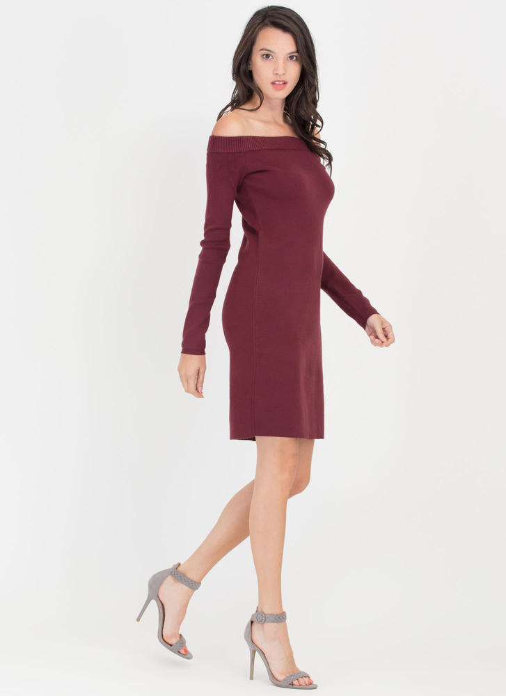 Shrug It Off-Shoulder Sweater Dress BURGUNDY (Final Sale)
