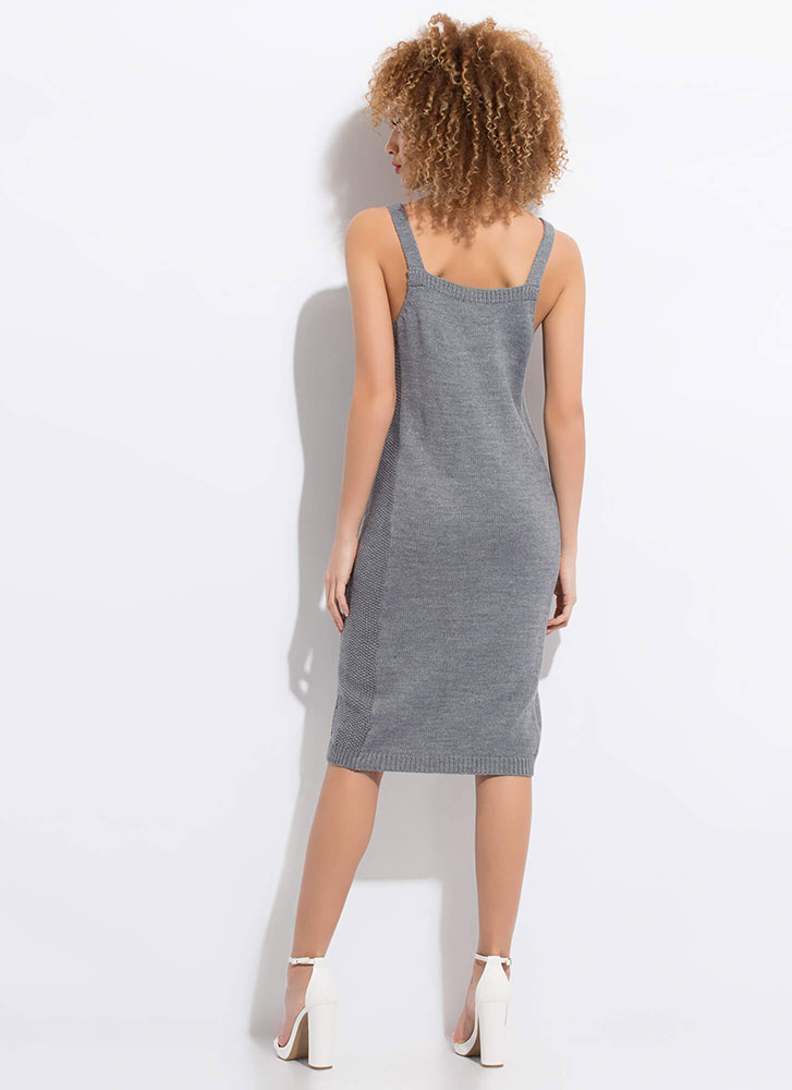 Cable Knit Me Up Midi Tank Dress CHARCOAL