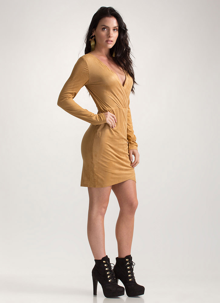 Soft Touch Faux Suede Tulip Hem Dress CAMEL