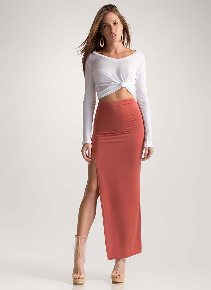 Going Long High Slit Maxi Skirt RUST