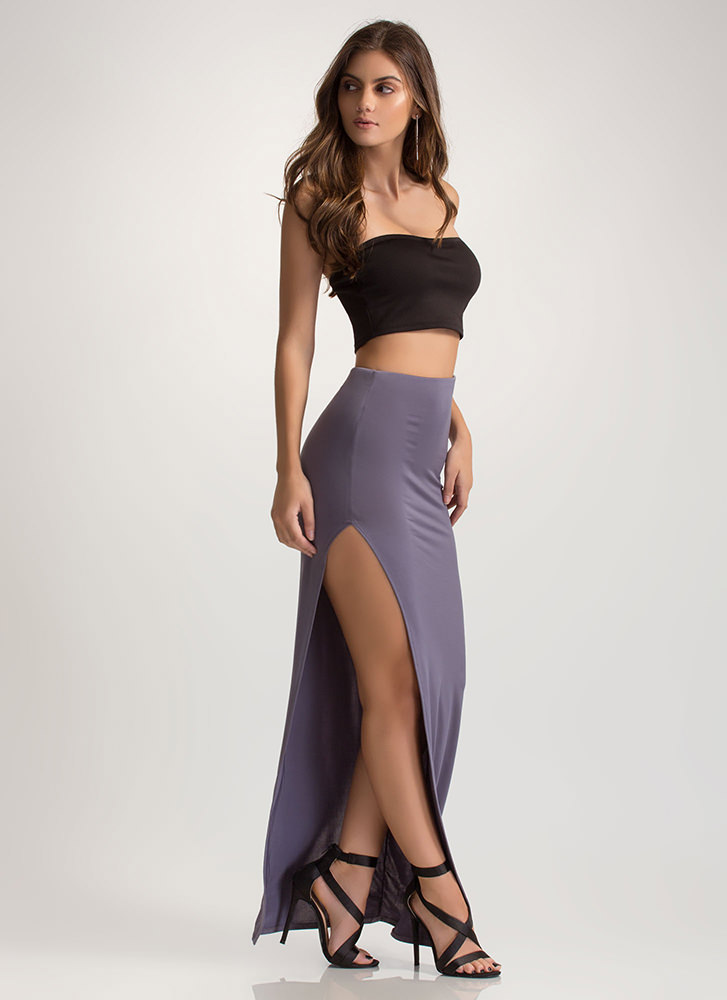 Going Long High Slit Maxi Skirt SILVER