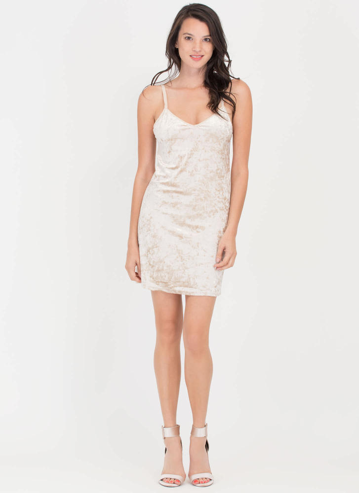 Crushing Blow Velvet Shift Slip Dress BEIGE (Final Sale)