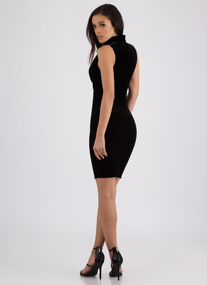 Cowl On The Prowl Plunging Velvet Dress BLACK (Final Sale)
