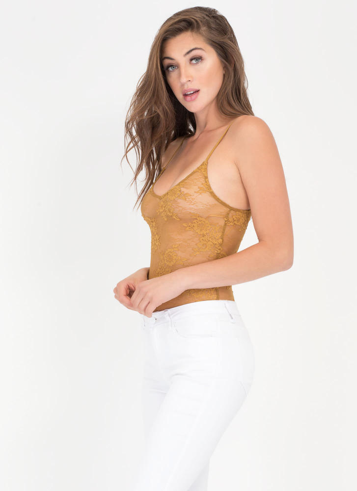 Bloom With A View Sheer Lace Bodysuit YELLOW