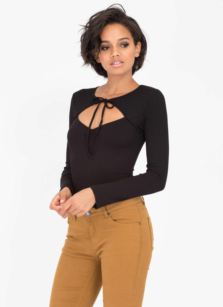 Tie Me Down Cut-Out Ribbed Bodysuit BLACK