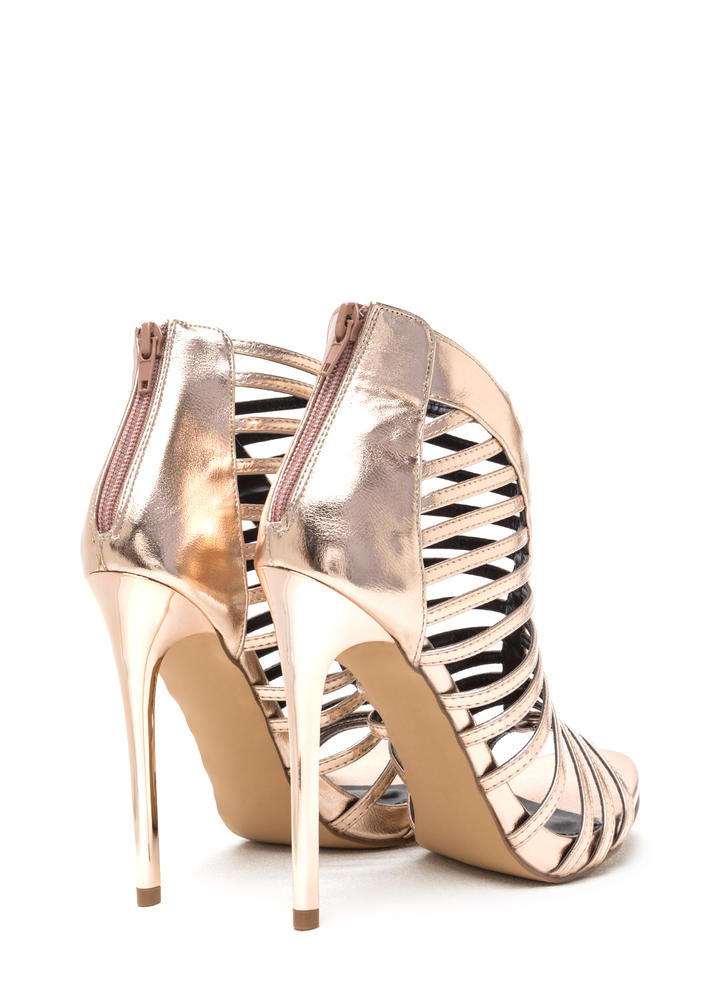 VIP Line Caged Metallic Stiletto Heels ROSEGOLD