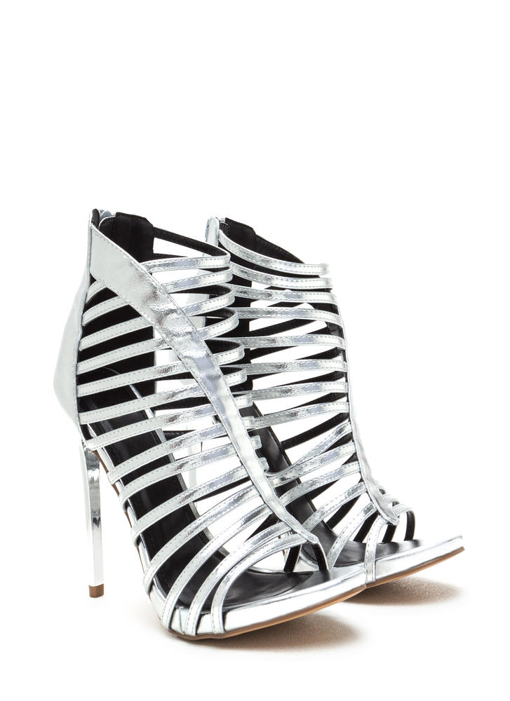 VIP Line Caged Metallic Stiletto Heels SILVER