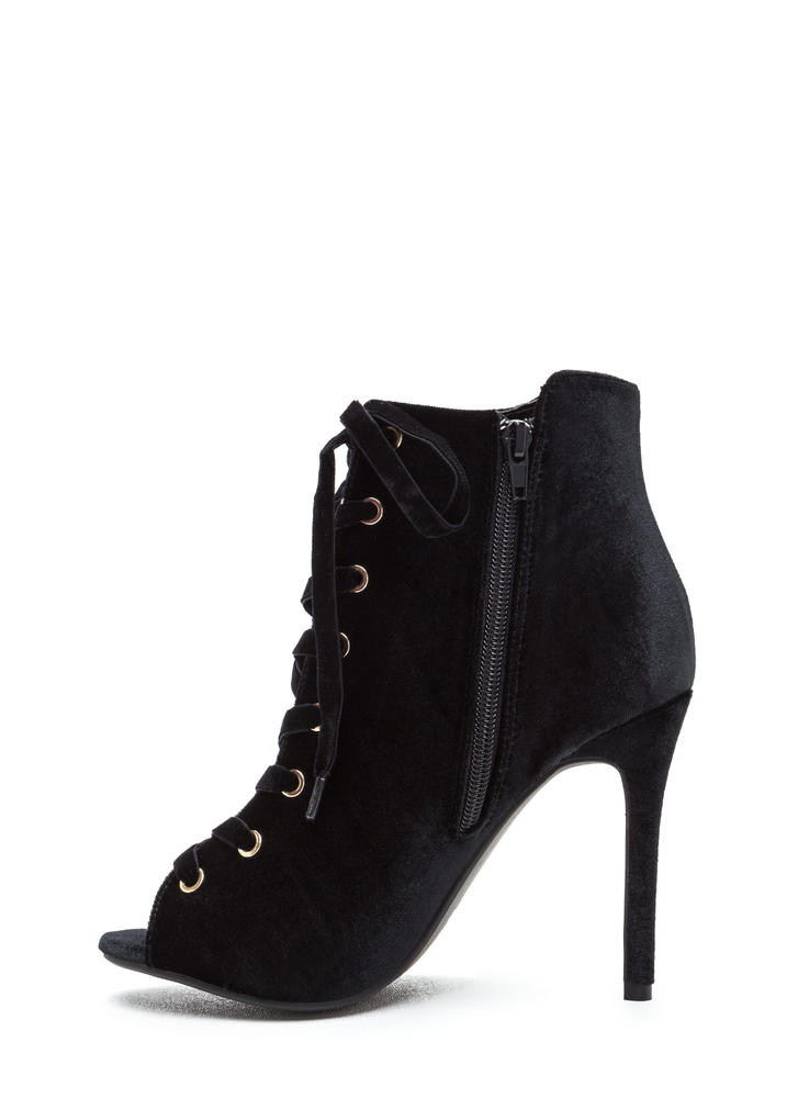 Luxe Good Lace-Up Peep-Toe Velvet Heels BLACK