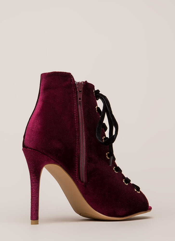 Luxe Good Lace-Up Peep-Toe Velvet Heels BURGUNDY
