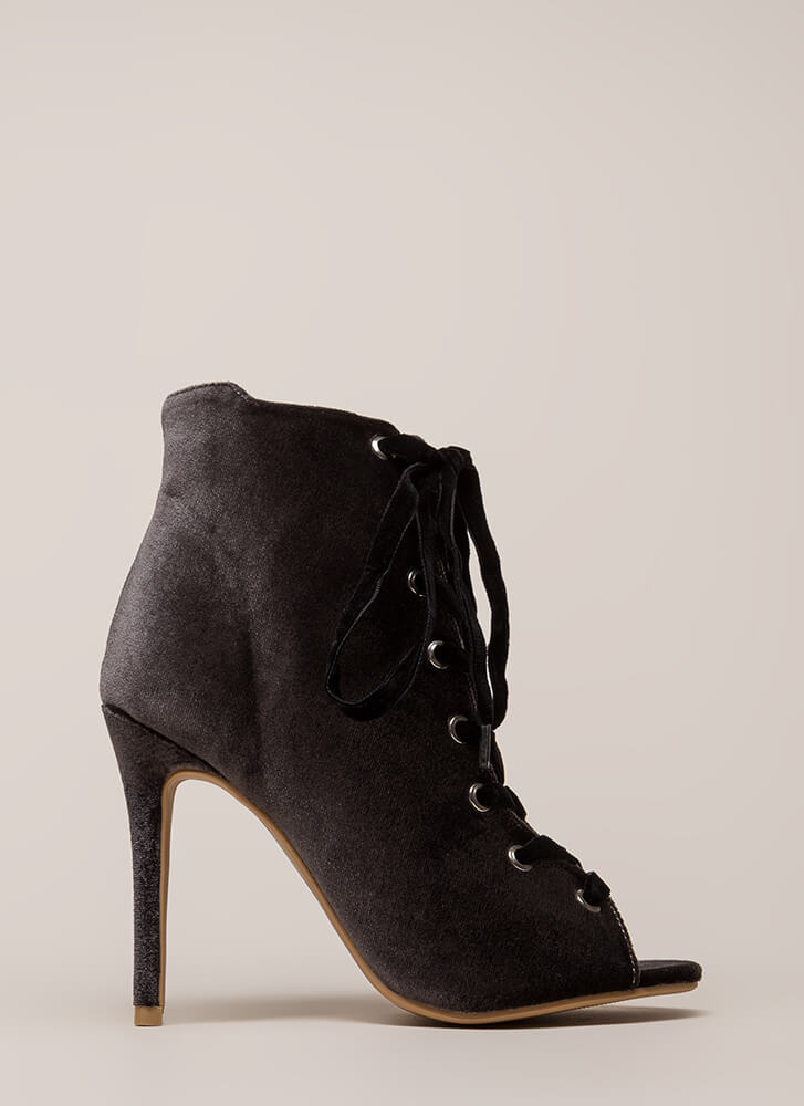 Luxe Good Lace-Up Peep-Toe Velvet Heels GREY