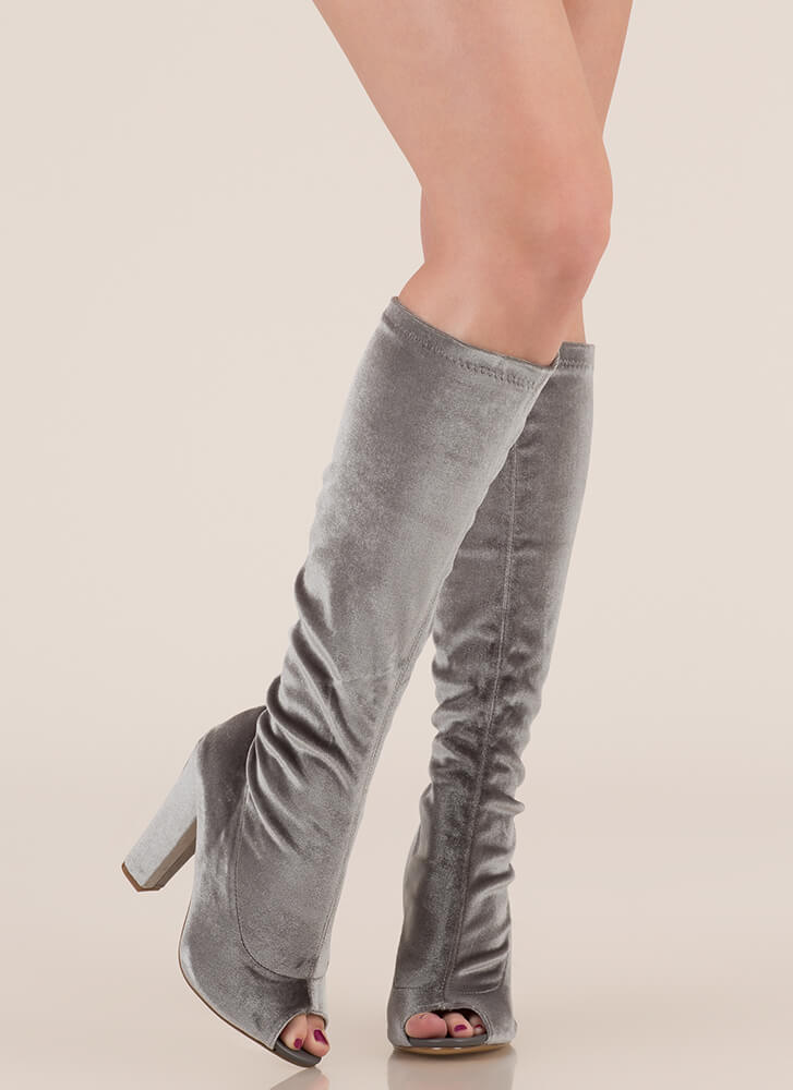 Velvet Victory Knee-High Chunky Boots GREY