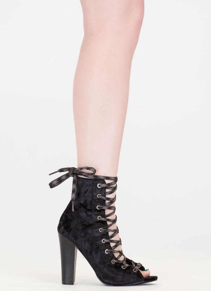 Camo Cool Chunky Crushed Velvet Booties BLACK (Final Sale)