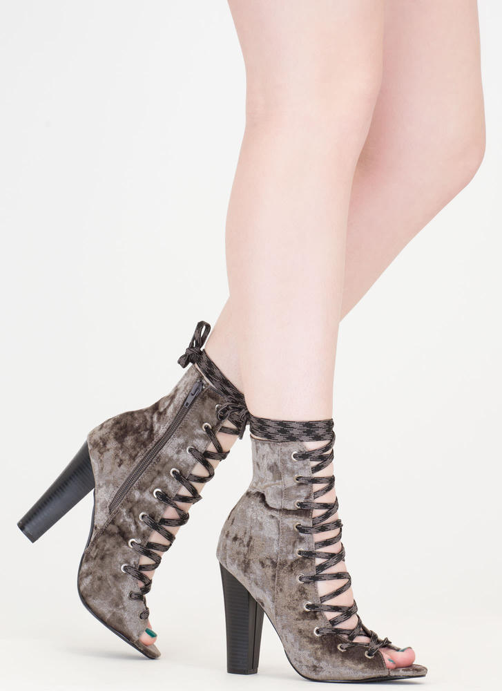 Camo Cool Chunky Crushed Velvet Booties GREY (Final Sale)