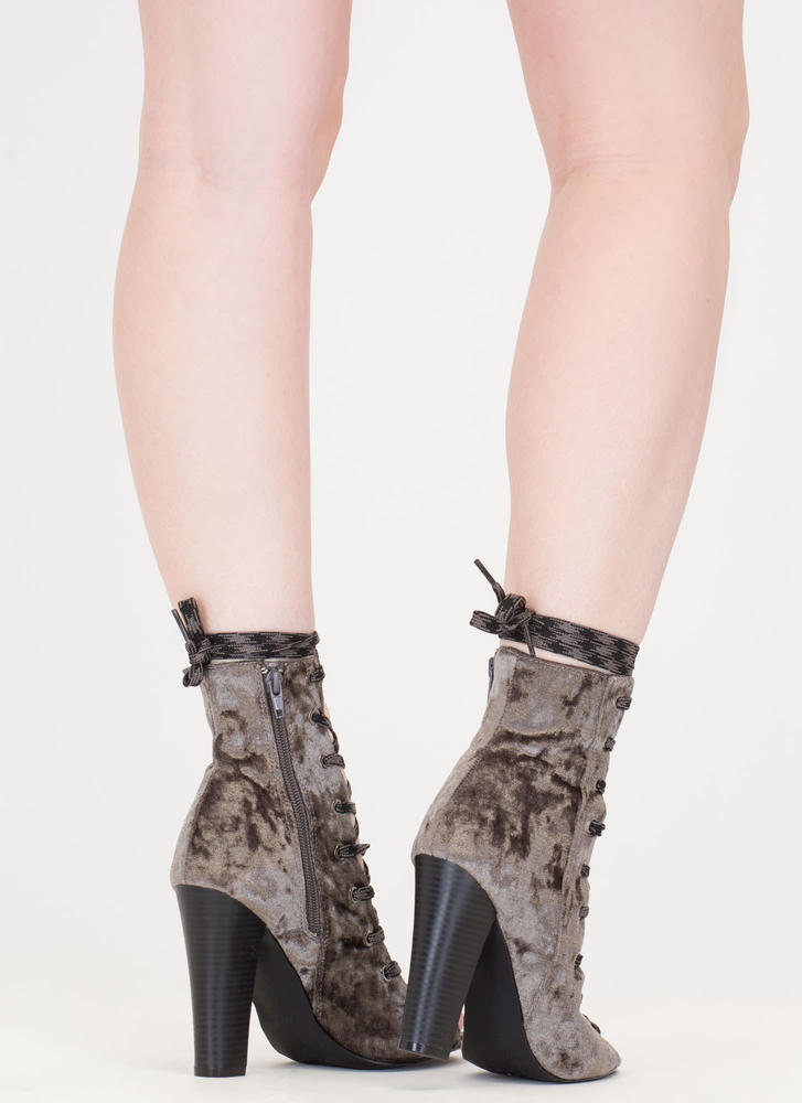 Camo Cool Chunky Crushed Velvet Booties GREY