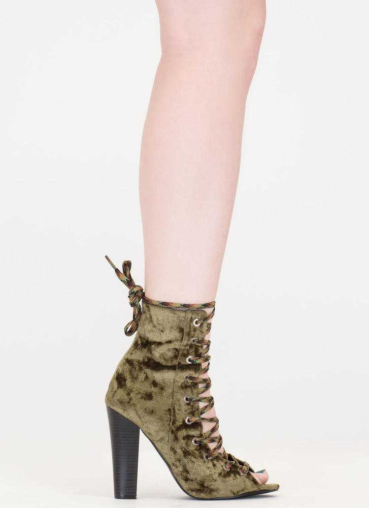 Camo Cool Chunky Crushed Velvet Booties OLIVE (Final Sale)