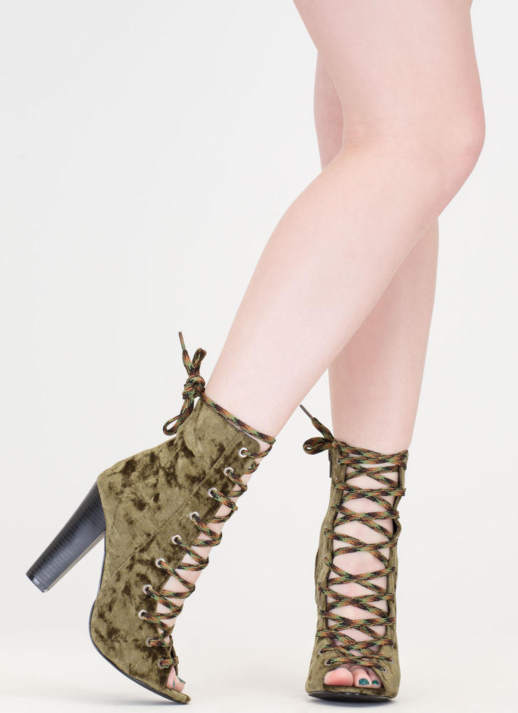 Camo Cool Chunky Crushed Velvet Booties OLIVE