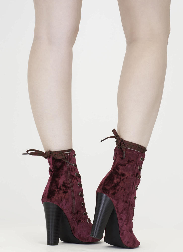 Camo Cool Chunky Crushed Velvet Booties WINE (Final Sale)