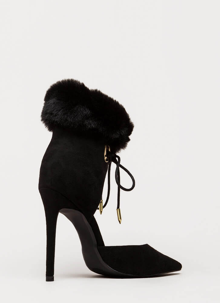 All Fur One Pointy Laced Heels BLACK