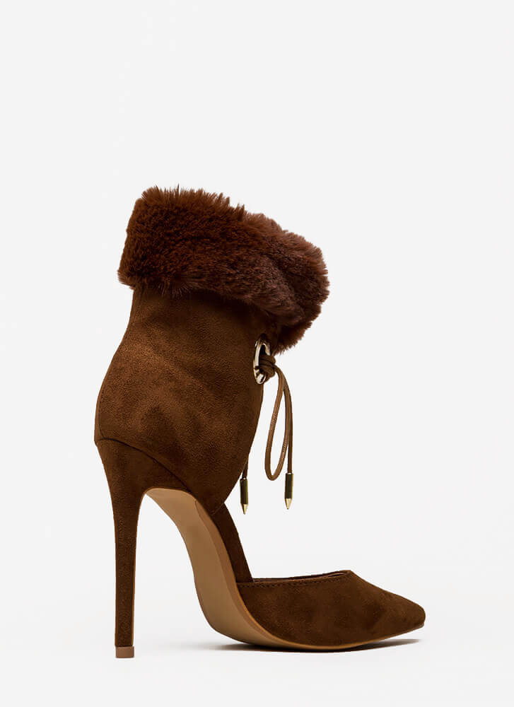 All Fur One Pointy Laced Heels BROWN