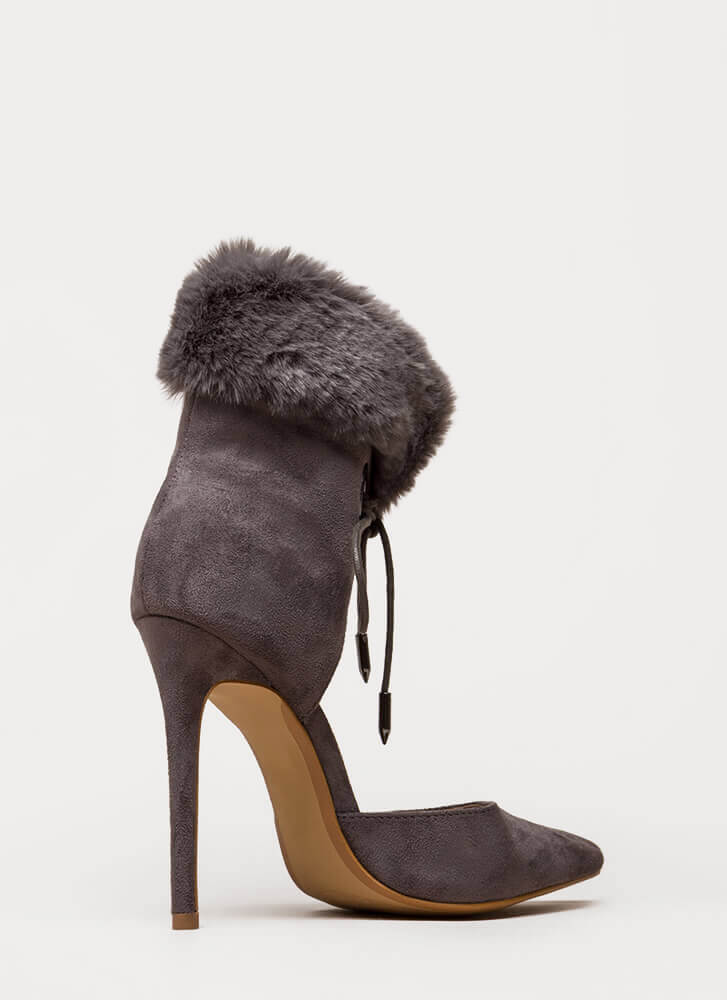 All Fur One Pointy Laced Heels GREY