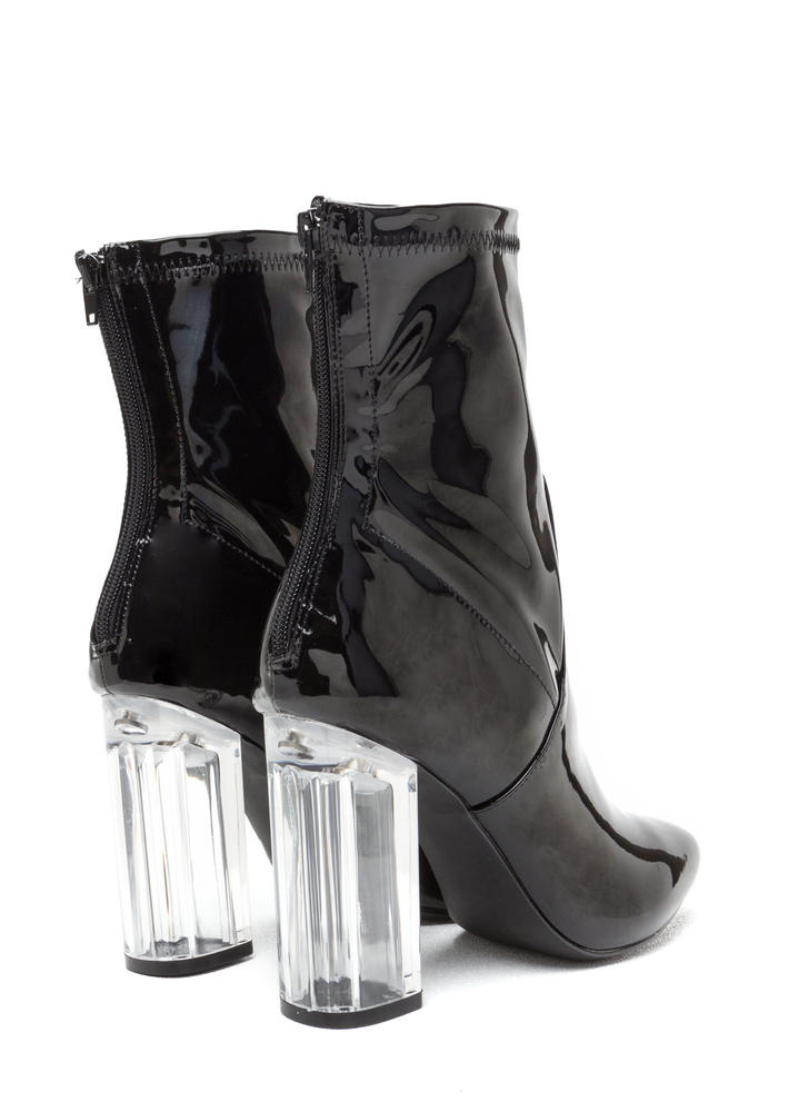 Clearly Chic Chunky Faux Patent Booties BLACK