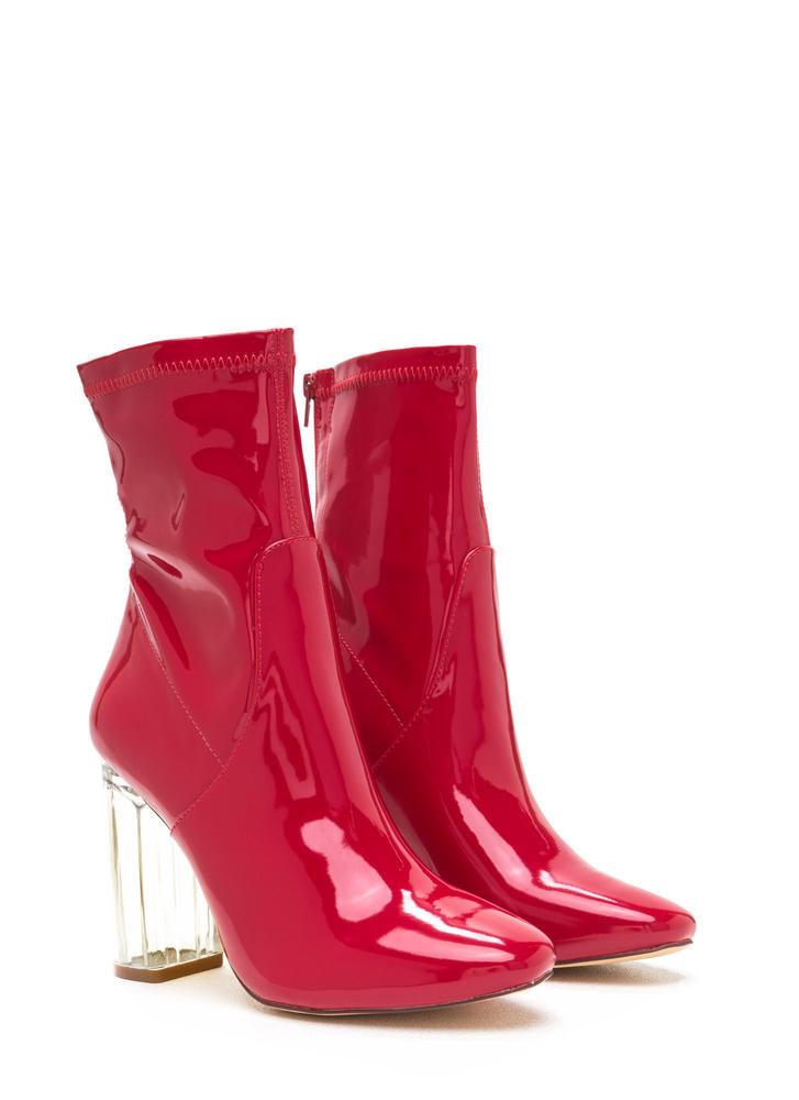 Clearly Chic Chunky Faux Patent Booties RED