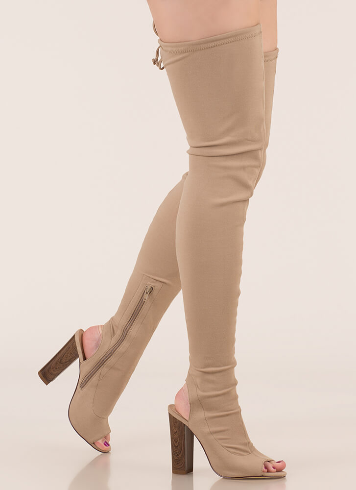 High Class Chunky Tied Thigh-High Boots BEIGE