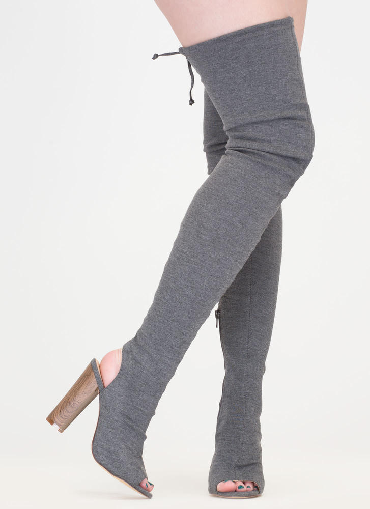 High Class Chunky Tied Thigh-High Boots GREY