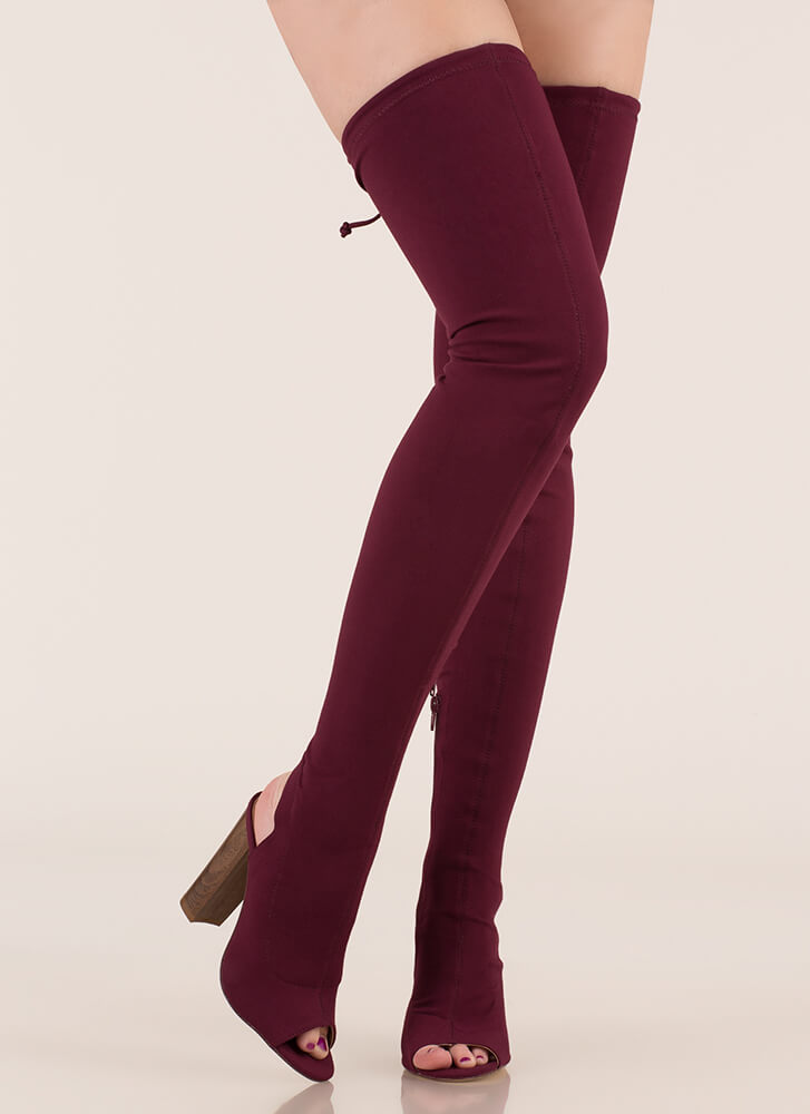 High Class Chunky Tied Thigh-High Boots WINE