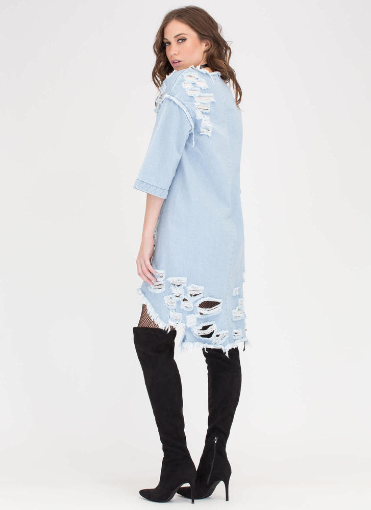 Jean Chaser Distressed High-Low Dress LTBLUE