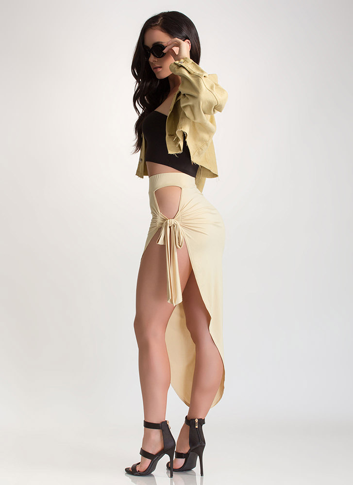 Tied Down Cut-Out Sarong Maxi Skirt TAUPE