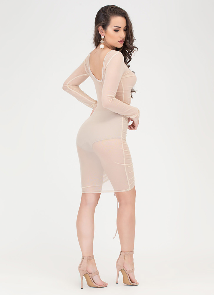 Sheer Delight Ruched Open Back Dress NUDE